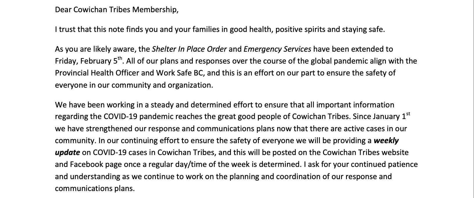 Cowichan Tribes on Essential Service