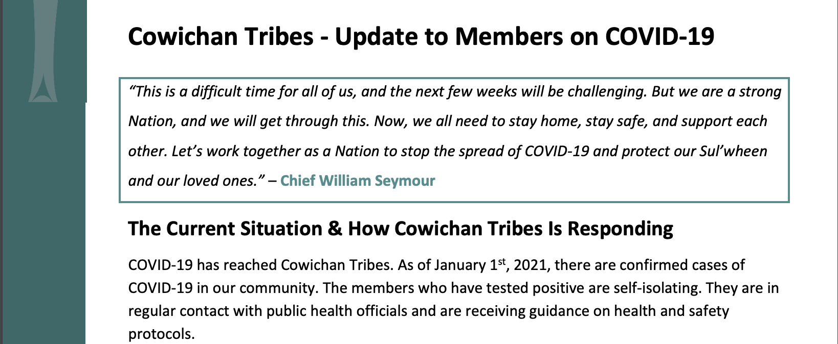 How Cowichan Tribes is Responding to COVID-19 - January 1, 2021