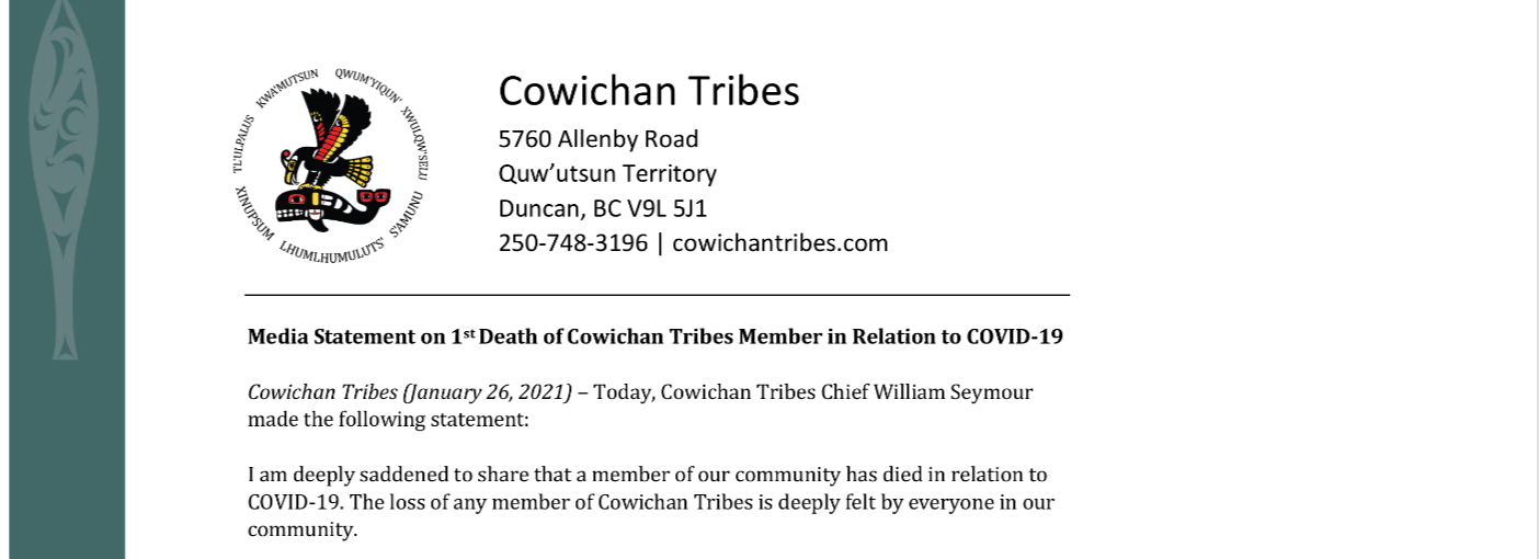 Media Statement on 1st Death in relation to COVID-19
